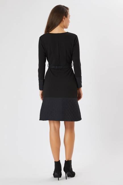 Anvelop yakalı siyah elbise - Thumbnail