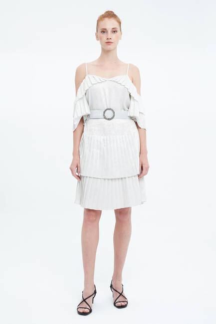 Pilise Detaylı Askılı Elbise - Thumbnail