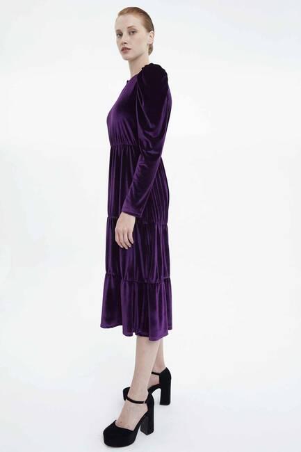 Balon Kol Kadife Elbise - Thumbnail