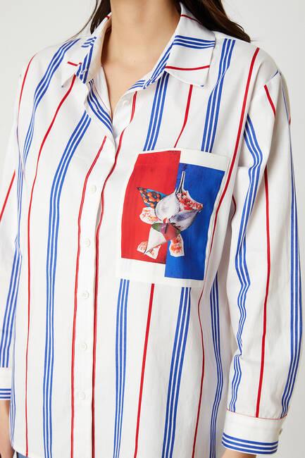 Baskılı çizgili poplin gömlek - Thumbnail