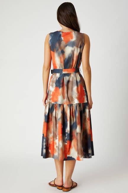 Batik desenli midi boy elbise - Thumbnail