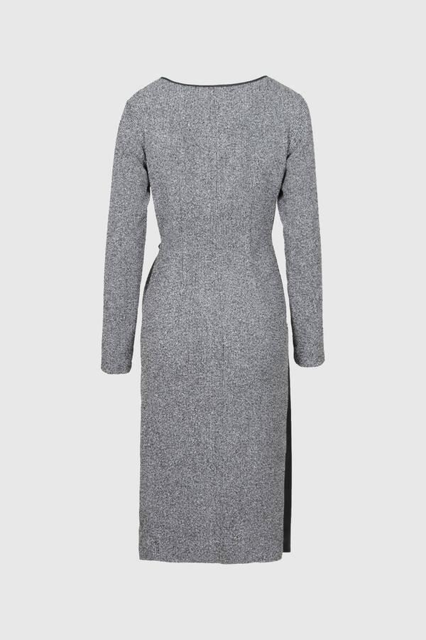 Buklet Örme Deri Garnili Elbise