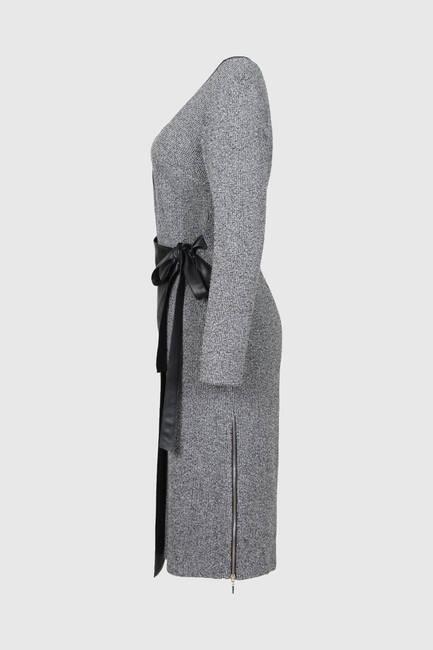 Buklet Örme Deri Garnili Elbise - Thumbnail