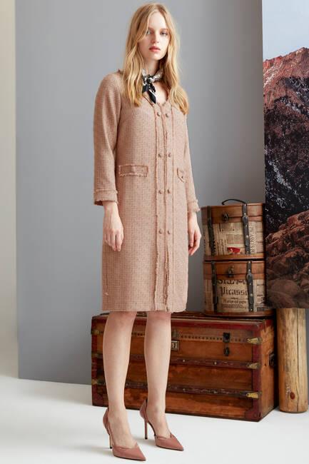 Chanel Kumaş Düğme Detaylı Elbise - Thumbnail