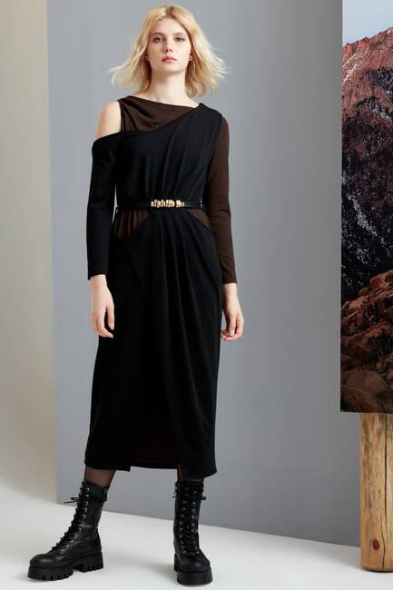 Çift Giyimli Asimetrik Elbise - Thumbnail