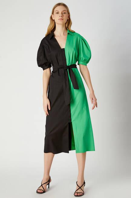 Çift renkli gömlek elbise - Thumbnail