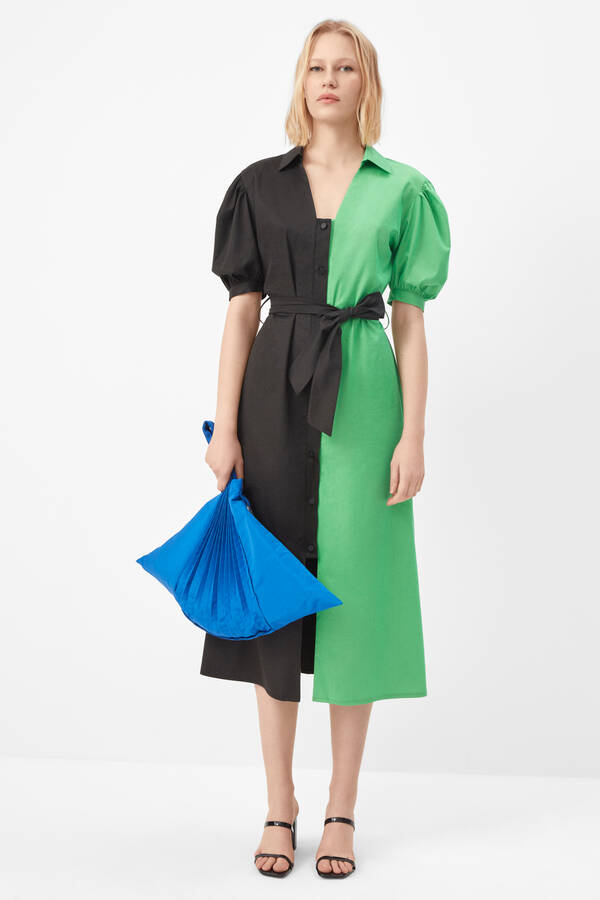 Çift renkli gömlek elbise