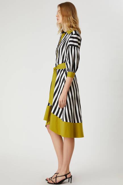 Çizgili poplin elbise - Thumbnail