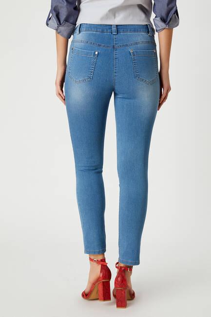 Dar paça mavi jean pantolon - Thumbnail