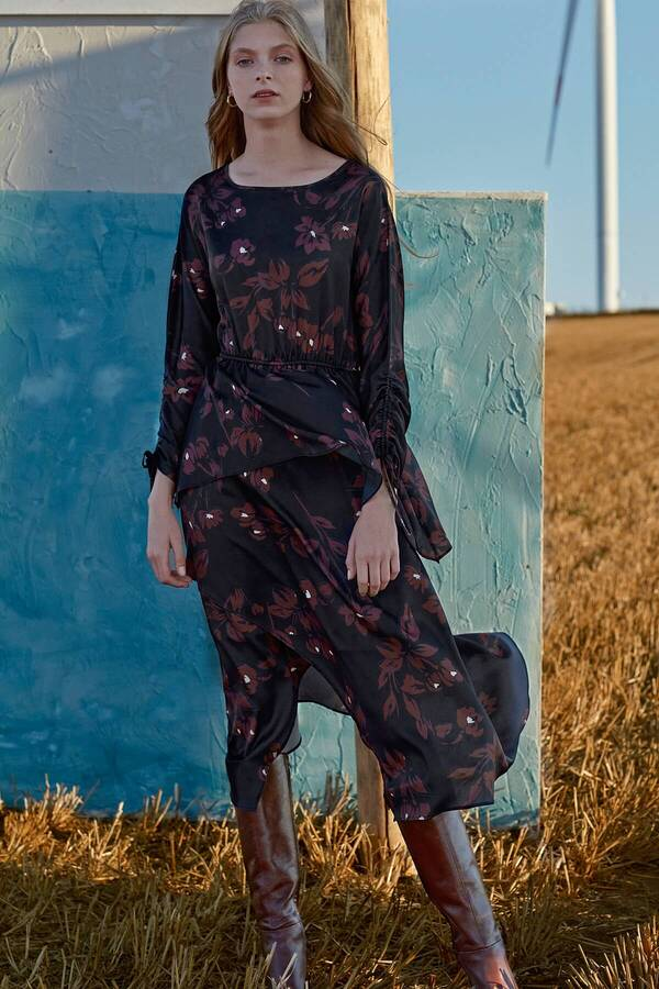 Desenli Asimetrik Elbise
