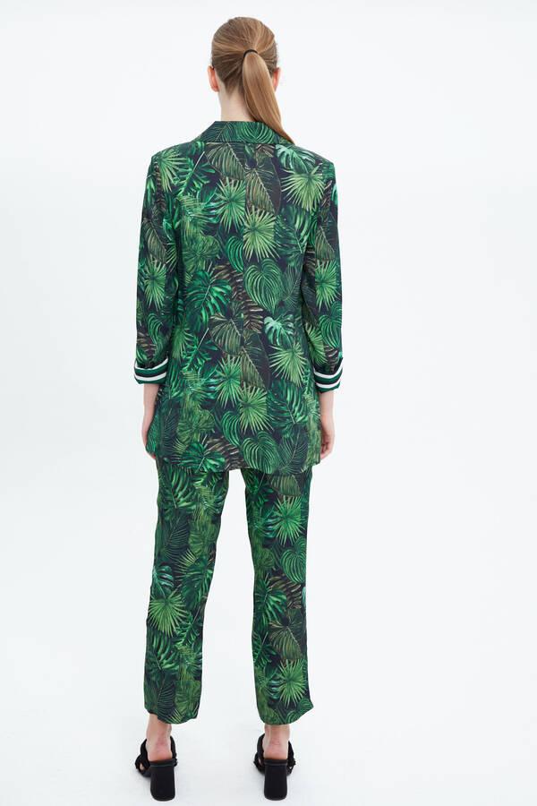 Tropik Baskılı Düz Form Blazer Ceket