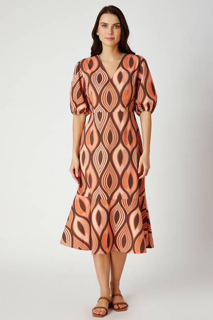 V Yaka Geometrik Desenli Midi Elbise - Thumbnail