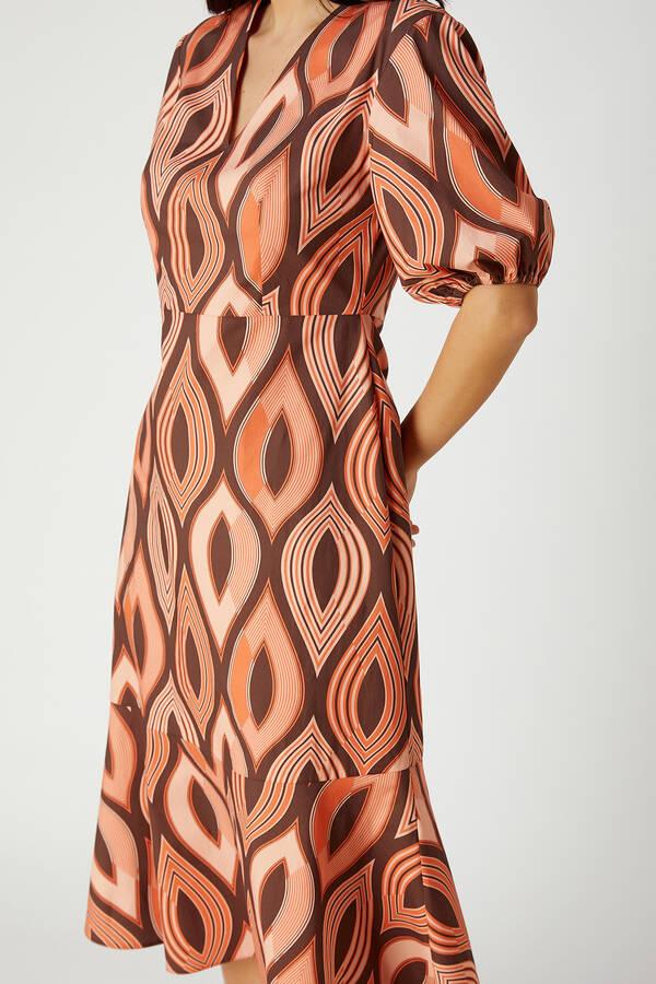 V Yaka Geometrik Desenli Midi Elbise