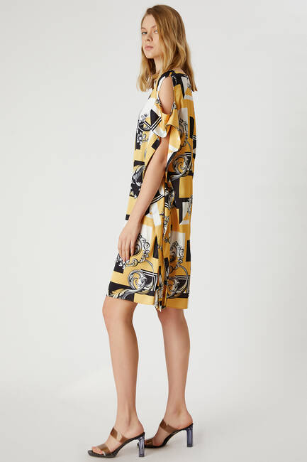 Kayık Yaka Desenli Elbise - Thumbnail