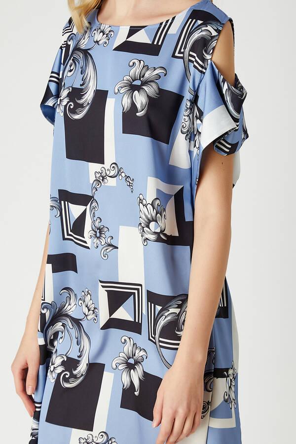 Kayık Yaka Desenli Elbise
