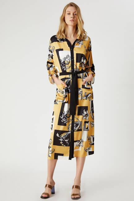 Desenli Beli Bağlamalı Gömlek Elbise - Thumbnail