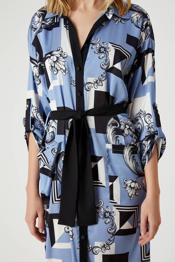 Desenli Beli Bağlamalı Gömlek Elbise