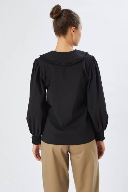 Fırfır yakalı poplin gömlek - Thumbnail