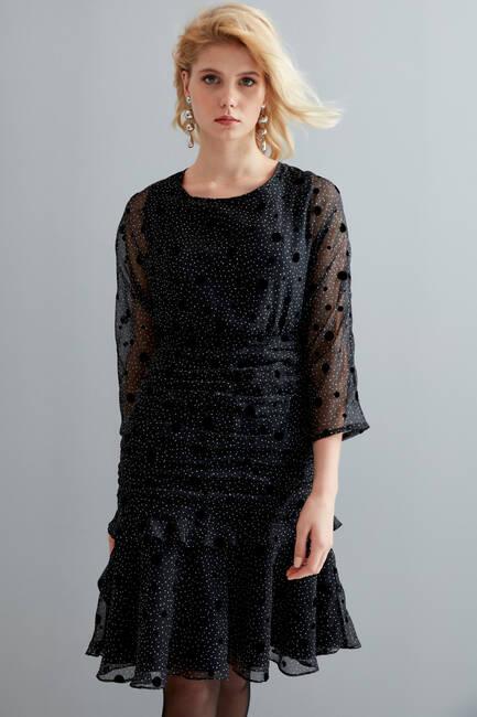 Flok Puanlı Drapeli Elbise - Thumbnail