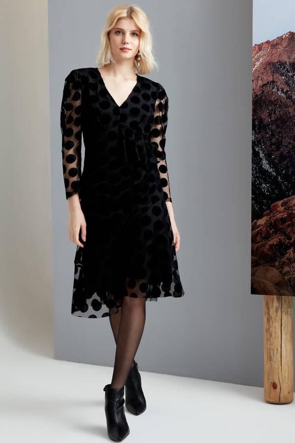 Flok Puanlı Tül Elbise