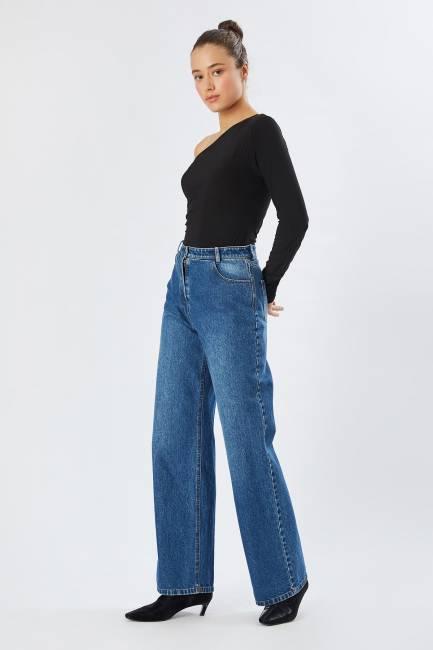 Geniş paça jean pantolon - Thumbnail