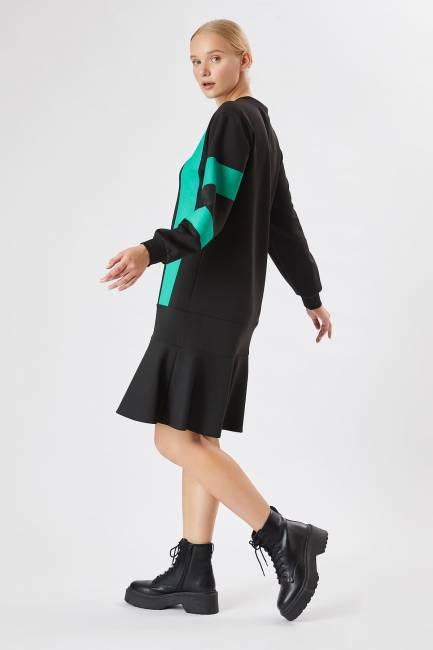Grafik baskılı örme elbise - Thumbnail