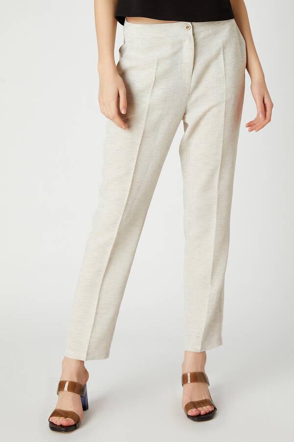 Keten görünümlü pantolon