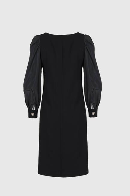 Kolyeli Siyah Krep Elbise - Thumbnail