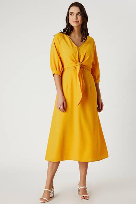 Önü Bağcıklı Truvakar Kol Elbise - Thumbnail