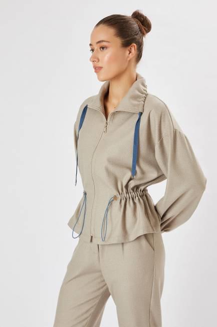Önü fermuarlı gömlek ceket - Thumbnail