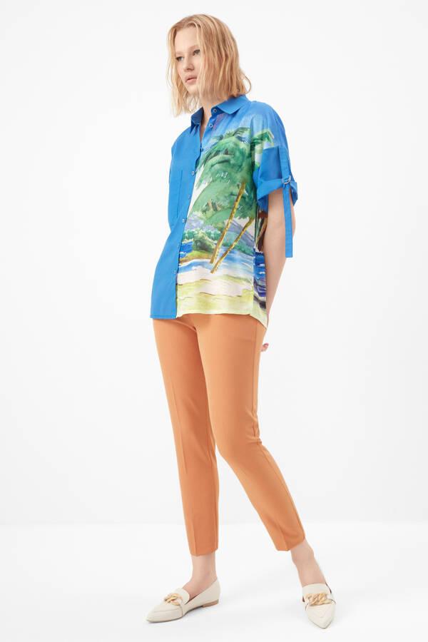 Palmiye desenli vual gömlek