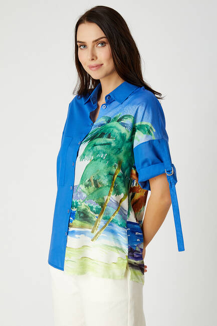 Palmiye desenli vual gömlek - Thumbnail