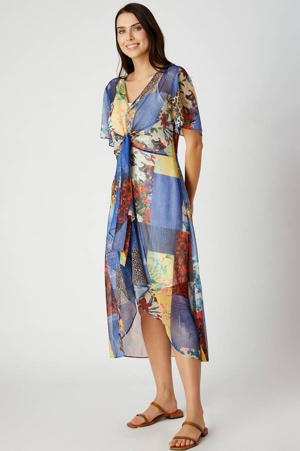 Patchwork desenli elbise