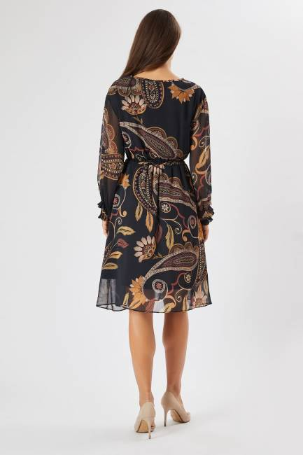 Şal desenli elbise - Thumbnail
