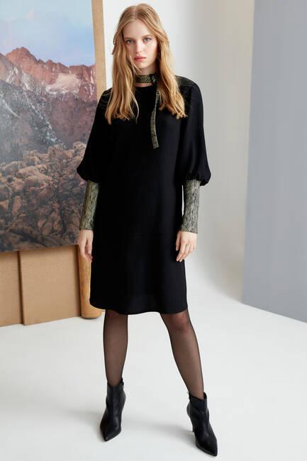 Sim Kumaş Garnili Siyah Elbise - Thumbnail