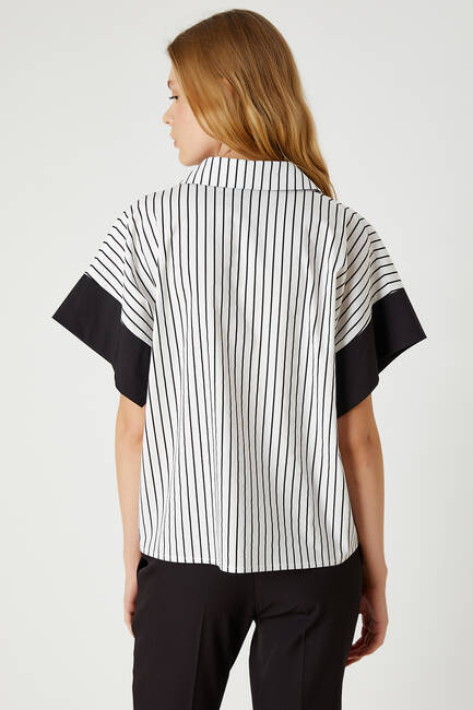 Siyah beyaz çizgili poplin gömlek - Thumbnail