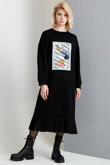 Siyah Önü Baskılı Elbise - Thumbnail