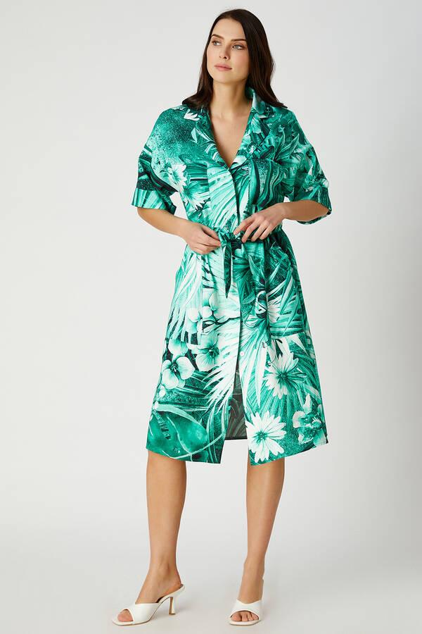 Tropik desenli viskon elbise