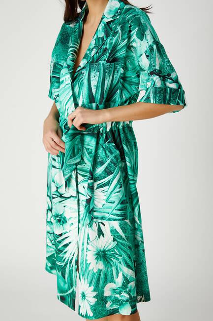 Tropik desenli viskon elbise - Thumbnail
