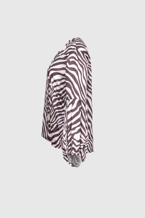 Yakası Çapraz Bağcıklı Desenli Bluz